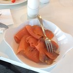 Excellent local smoked salmon. Just lovely.