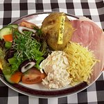 Jacket potato with cheese and ham