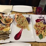 Spider crab pasta and assorted seafood appetiser
