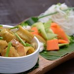 malaysian mix seafood curry with fragrant jasmine rice
