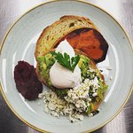 Smashed Avo w Beetroot relish, fetta, roasted pumpkin & poached eggs