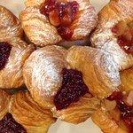 Kuches famous Cruffins, Rhubarb and strawberry or Raspberry filled w vanilla custard