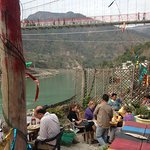 View to Laxman Jhula from Ganga Beach Cafe
