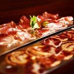 Cured ham and black iberian pik sausages