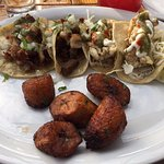 Taco special with fried oyster tacos and fried plantains
