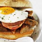 visit us for breakfast and lunch our favourite bacon egg sausage sandwich