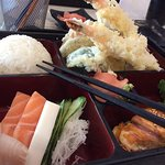 Salmon Teriyaki Bento Box with sashimi