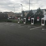 Charging bays x6 for Tesla EVs. Check-in at reception on arrival to avoid fines. Useful stop off