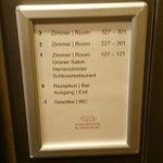 Hinweis im Aufzug auf Wellness-Bereich im UG (-1)