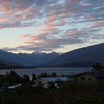 View from the private balcony of our room, stunning views of Lake Wanaka and the mountains.
