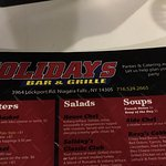 Soliday's Bar & Grille - menu