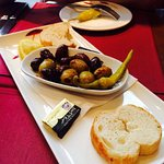 Starter on the house - Olives and bread.