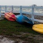 Kayaks near pier