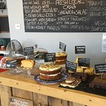 Great selection of homemade cakes and gluten free chocolate brownies.
