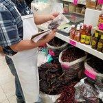 Pepper (and mole!) selection at Mercado Medellin