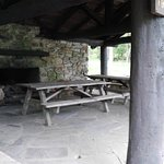 Inviting pavilons beckon one to come and visit with friends and family over a nice picnic/bar-b-