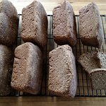 Our favorite gluten-free bread recipe:  ATK's Honey Millet Sandwich Bread