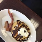 Blueberry & cream pancakes with turkey apple sausage and chocolate cookie pancakes