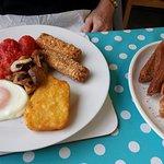 Vegetarian breakfast. £6.50 inc drink (not shown) - March 2017.