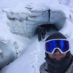 About to enter ice cave at Matanuska Glacier in Alaska
