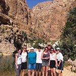 The Joneseys and Hobbs hiking in Wadi Shab