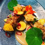 Pork belly with nectarines and peach puree