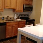 Kitchenette in the room, has microwave, oven, supplied with clean cups, plates, glasses, towels,