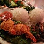 Coconut Shrimp, veggies, Kal Bi
