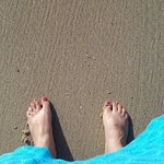 Oh, that wonderful feeling when your toes touch the sand!