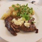 Meat with Garlic Sauce and Potatos.