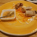 Crispy Spring Rolls with a peanut chili sauce that was amazing