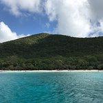 View of Honeymoon Beach from the catamaran.