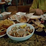 fresh oyster, steamed clams, sea food platter