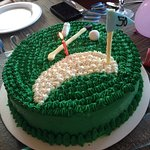 Special birthday cake after golf