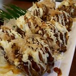 Large serving of freshly made Takoyaki. Tastes like what takoyaki should taste.