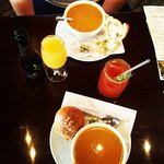 Butternut squash Soups and sake bloody mary and mimosa!