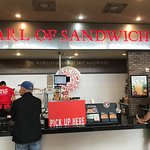 Earl of Sandwich counter, with cooking grill in back of picture