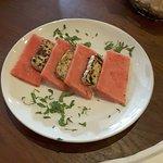 watermelon and halloumi