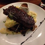 Aged Steak ! with marvellous cauliflower purée and mushrooms