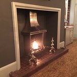 Roaring fire in the dining area