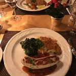 Rosti and veal sausage and milanese