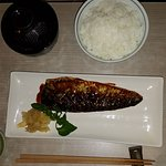 Teriyaki mackerel set with miso soup and rice