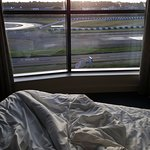 The track view from my room (well, the bed)