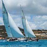 Stars & Stripes and True North one racing off Great Bay, St Maarten