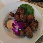 Mahi fish sandwich  Bacon wrapped lobster tail Conch fritters