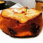 Rhubarb and custard cake