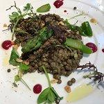 Salade de lentilles, asperge verte, huile de truffe