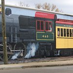 Train mural next to the Depot