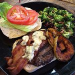 Bacon Apple Bleu Burger. Organic grass fed beef burger with bleu cheese, bacon, & grilled apple.