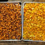 Roasted sweet potatoes and roasted butternut squash.